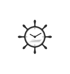 marine symbol with yacht and clock symbol vector image