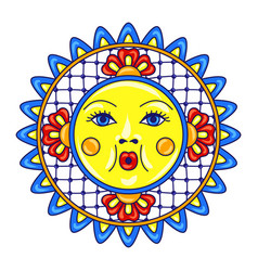 mexican sun or moon with ornamental flowers vector image