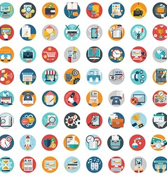 Modern flat icons collection in stylish colors of vector image