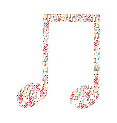 musical note color silhouette formed by musical vector image