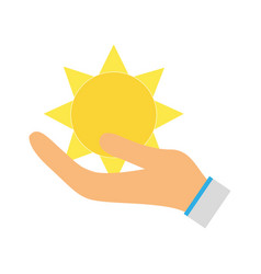 Natural sun and normal weather icon in the hand vector