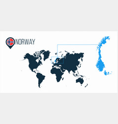 Norway location on the world map for infographics vector