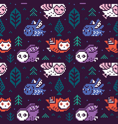 Owls seamless pixel pattern in vector