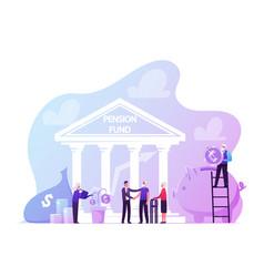 pension fund plan insurance and bank savings vector image