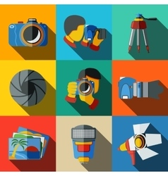 Photographer colorful flat icons set on bright vector image