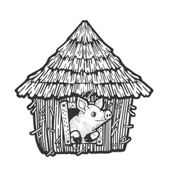 Pig in straw house sketch vector