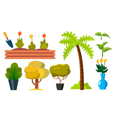 plants trees garden flowers icon flat vector image