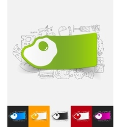 Scrambled paper sticker with hand drawn elements vector