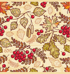 seamless pattern autumn deciduous ornament vector image