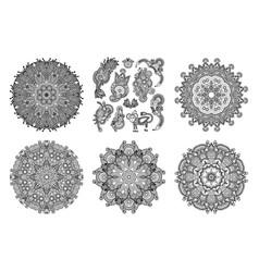 set circle lace ornament round ornamental vector image