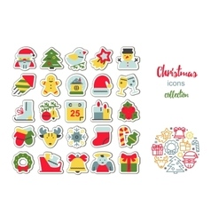 set of flat icons for Christmas and new vector image