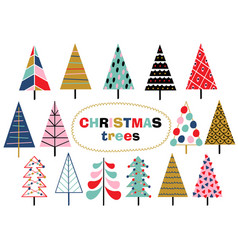 set of isolated christmas trees vector image