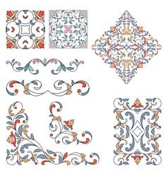 Set ornamental floral elements for design vector