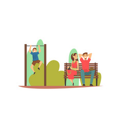 smiling young man and woman sitting on bench in vector image