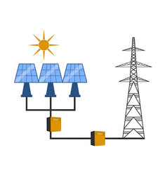 Solar panels connected to an electrical tower vector