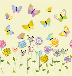 spring floral background with doodle flowers and vector image