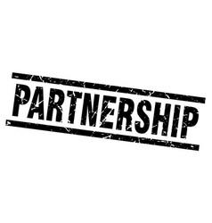 Square grunge black partnership stamp vector