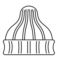 Striped winter beanie icon outline style vector