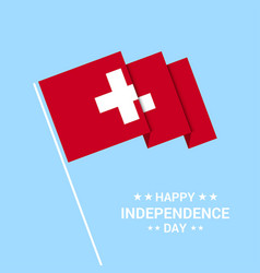 switzerland independence day typographic design vector image