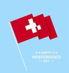 Switzerland independence day typographic design vector