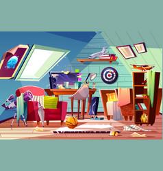 teen boy messy attic room interior cartoon vector image
