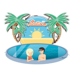 vacations couple in the pool icon vector image