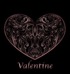 valentines hearts outline floral vector image