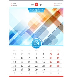 Wall calendar 2016 september template with vector