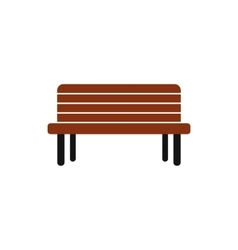 Wooden bench icon in flat style vector image