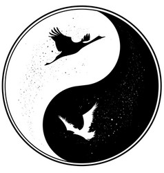 yin yang witn raven and crane vector image