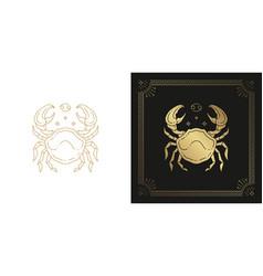 Zodiac cancer horoscope sign line art silhouette vector