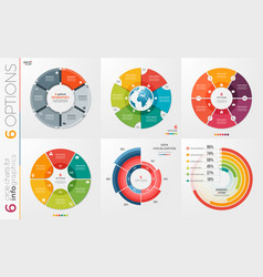 collection of 6 circle chart templates 6 vector image