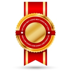 Premium golden and red Best Seller label with vector image