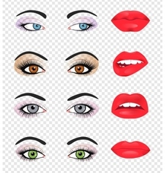 Set of glamour lips with pink lipstick color vector image vector image