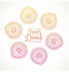 Shubh diwali greeting card with paisley design vector