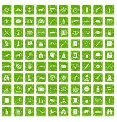 100 guns icons set grunge green vector