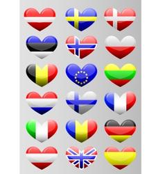 european flags heart vector image