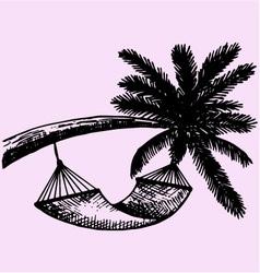 Hammock hanging palm vector image