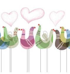 Love birds ornament seamless pattern vector image vector image