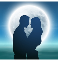 Sea with full moon and silhouette couple at night vector image vector image