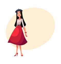young french woman dressed in parisian style vector image