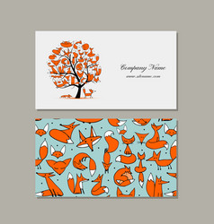 business card design foxy tree vector image vector image