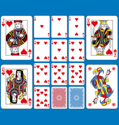 hearts suite playing cards french style vector image vector image