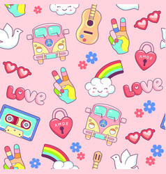 hippie style seamless pattern with van guitar vector image