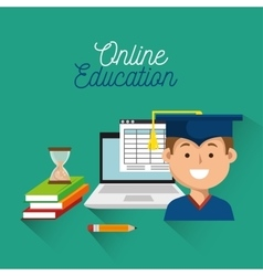 Student laptop book education online student vector