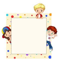 Border design with children vector image