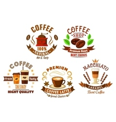 Coffee shop design elements in cartoon style vector image vector image