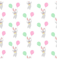 easter bunny with balloons seamless pattern vector image vector image