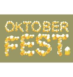 Oktoberfest typography of mug of beer Lettring of vector image vector image