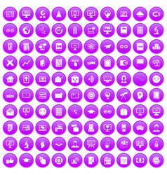 100 e-learning icons set purple vector